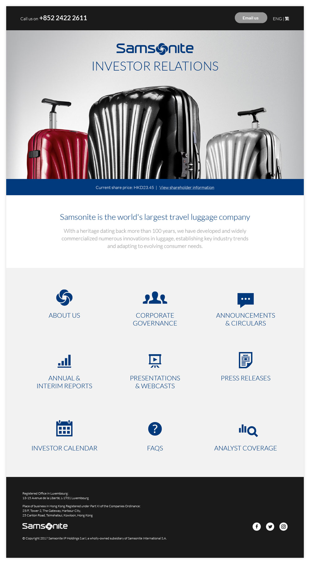 Samsonite Homepage