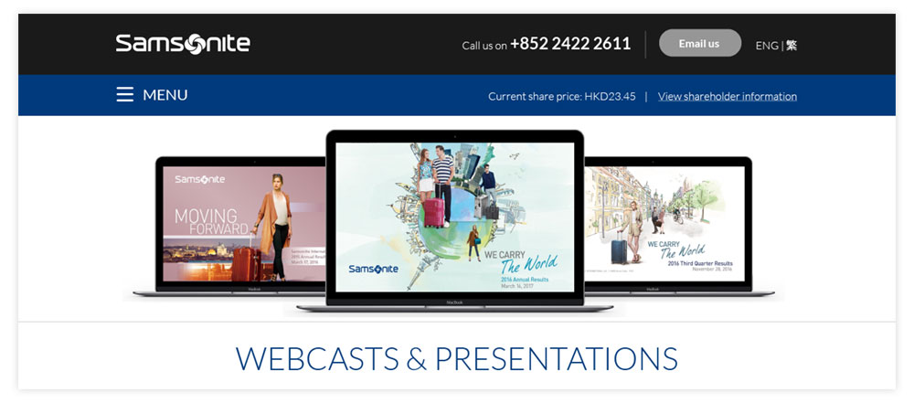 Samsonite Webcasts
