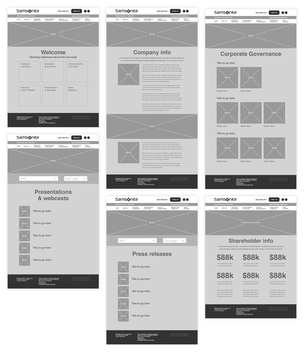 Samsonite Wireframes